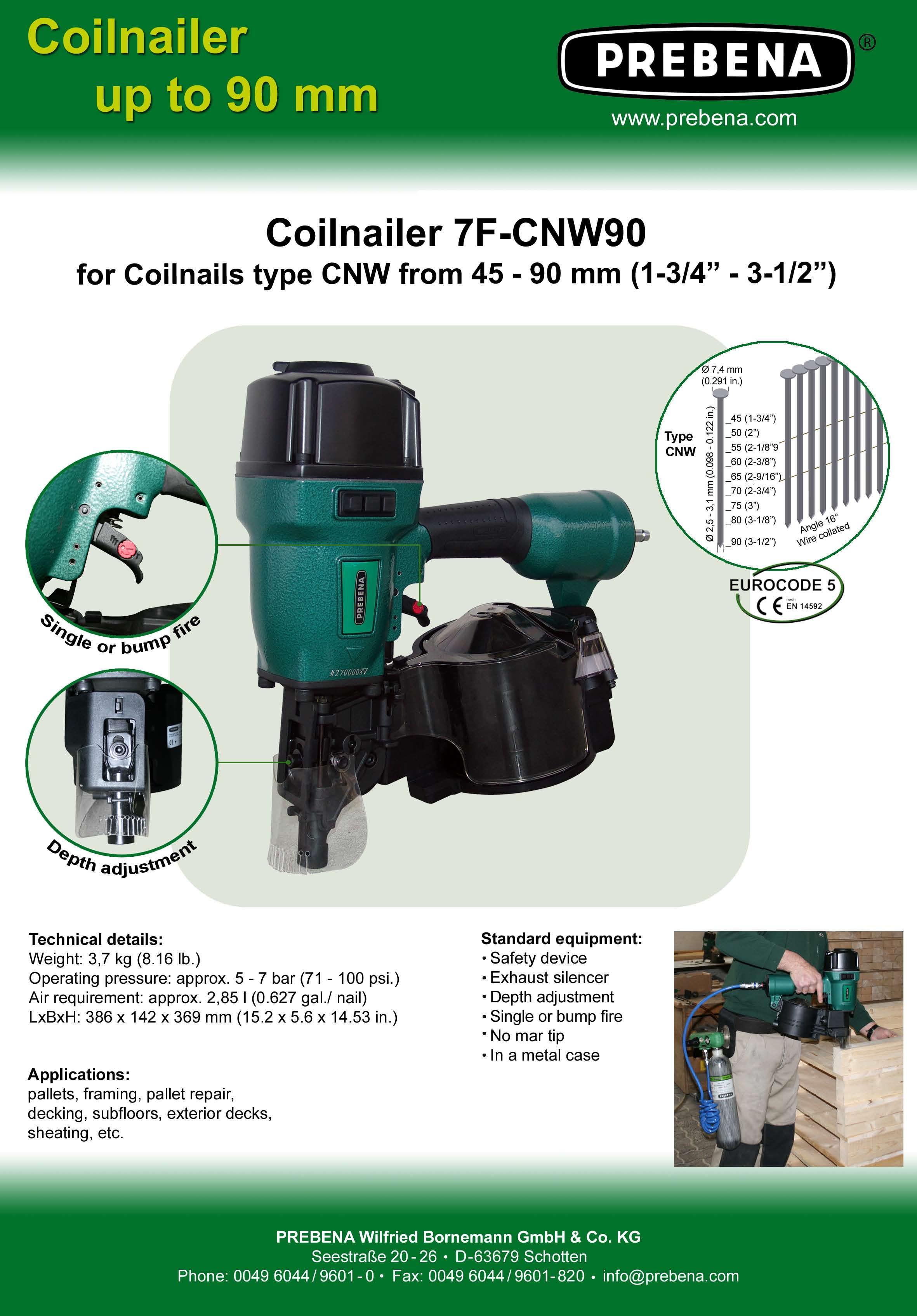 7F-CNW90 цвяхозабивний пневмопістолет