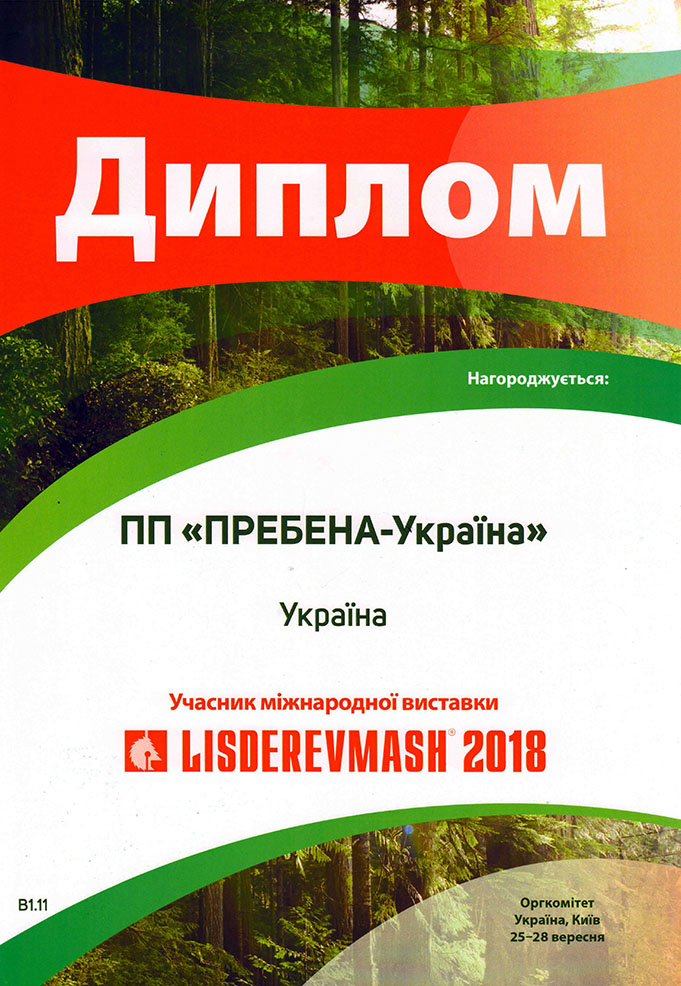 Диплом LISDEREVMASH 2018